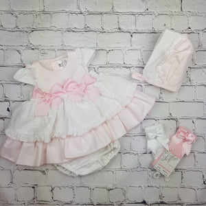 WM Pink Layered Bow Dress