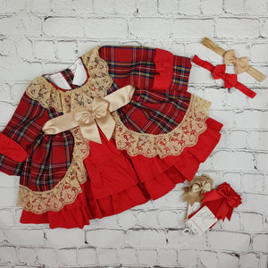 WM Red And Tan Tartan Puffball Dress