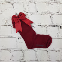 Load image into Gallery viewer, Burgundy Bow Knee High