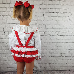 WM Red And White Romper Set