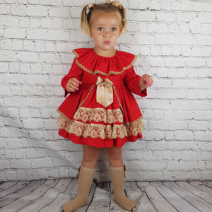 WM Red And Tan Puffball Dress