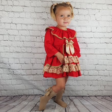 Load image into Gallery viewer, WM Red And Tan Puffball Dress