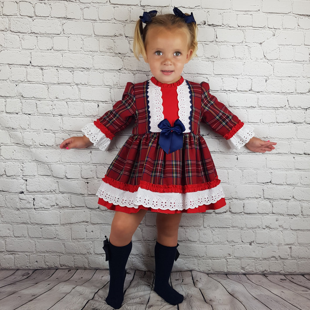 WM Red And Navy Tartan Puffball Dress