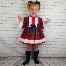 Load image into Gallery viewer, WM Red And Navy Tartan Puffball Dress
