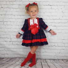Load image into Gallery viewer, WM Red And Navy Check Puffball Dress