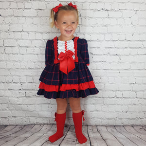 WM Red And Navy Check Puffball Dress