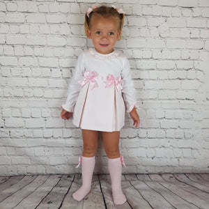 WM Pink And White Double Bow Dress