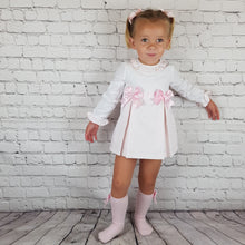 Load image into Gallery viewer, WM Pink And White Double Bow Dress