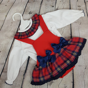 WM Navy And Red Tartan Romper