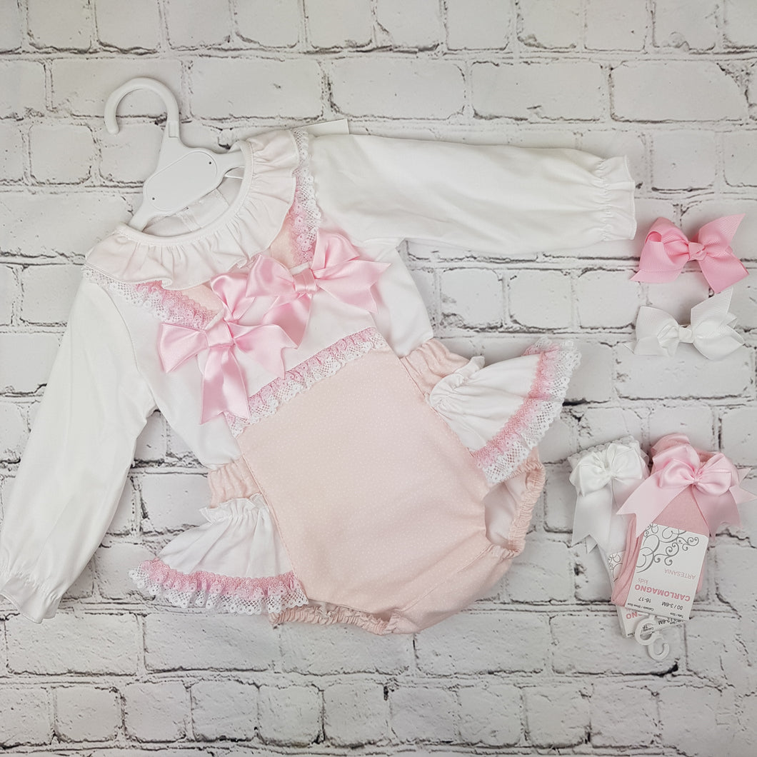 WM Pink Double Bow Romper Set