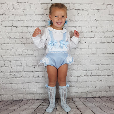 WM Blue Double Bow Romper Set