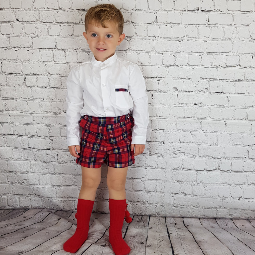 Ceyber Red Tartan Short Set