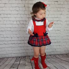 Load image into Gallery viewer, WM Navy And Red Tartan Romper