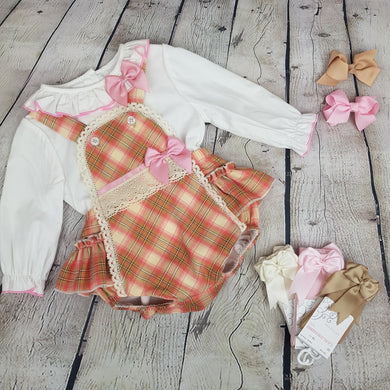 WM Pink And Tan Romper