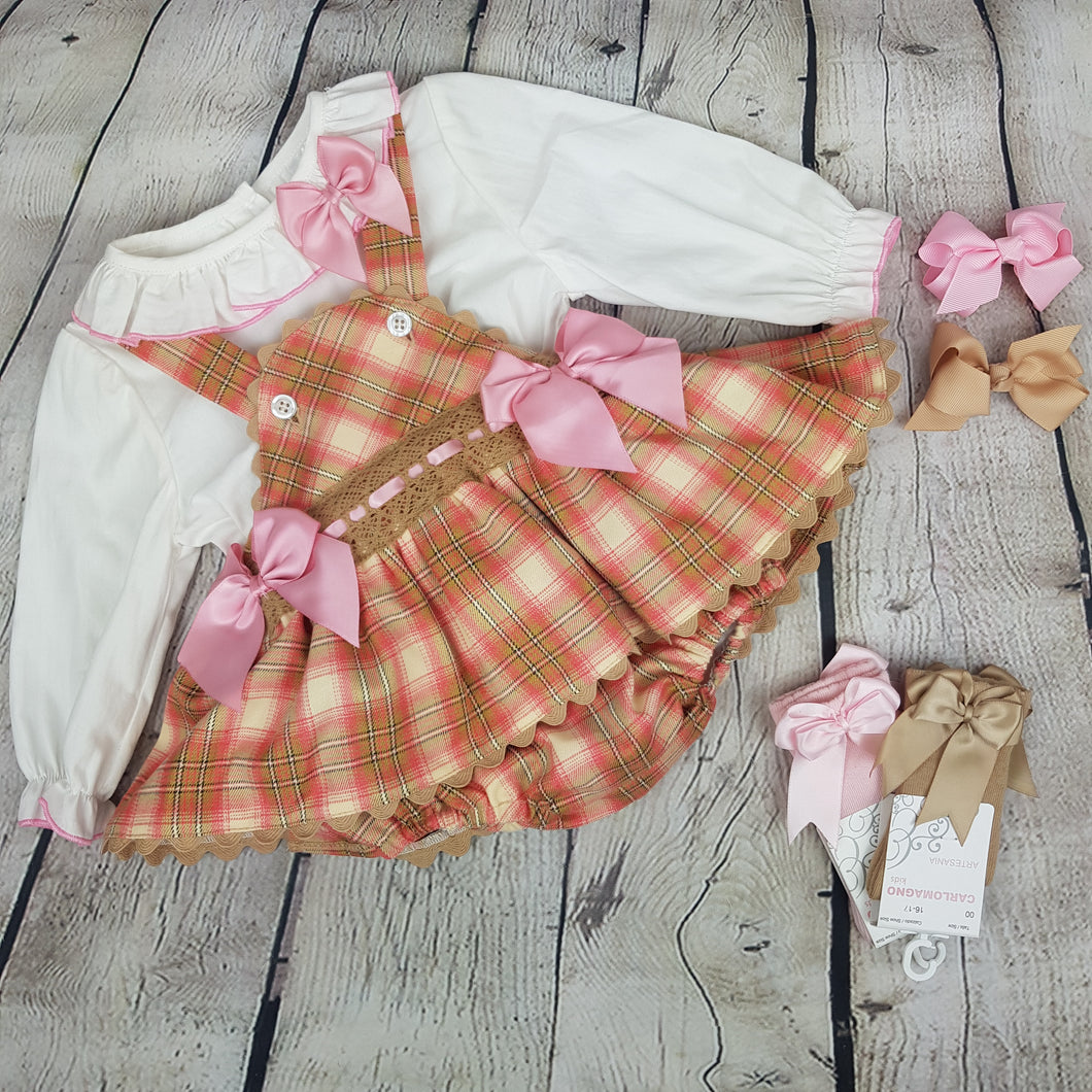 WM Pink And Tan Skirted Romper