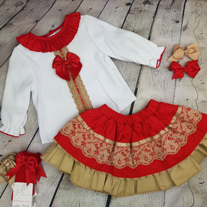 WM Red And Tan Skirt Set
