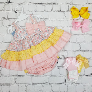 Ceyber Pink And Lemon Baby Dress