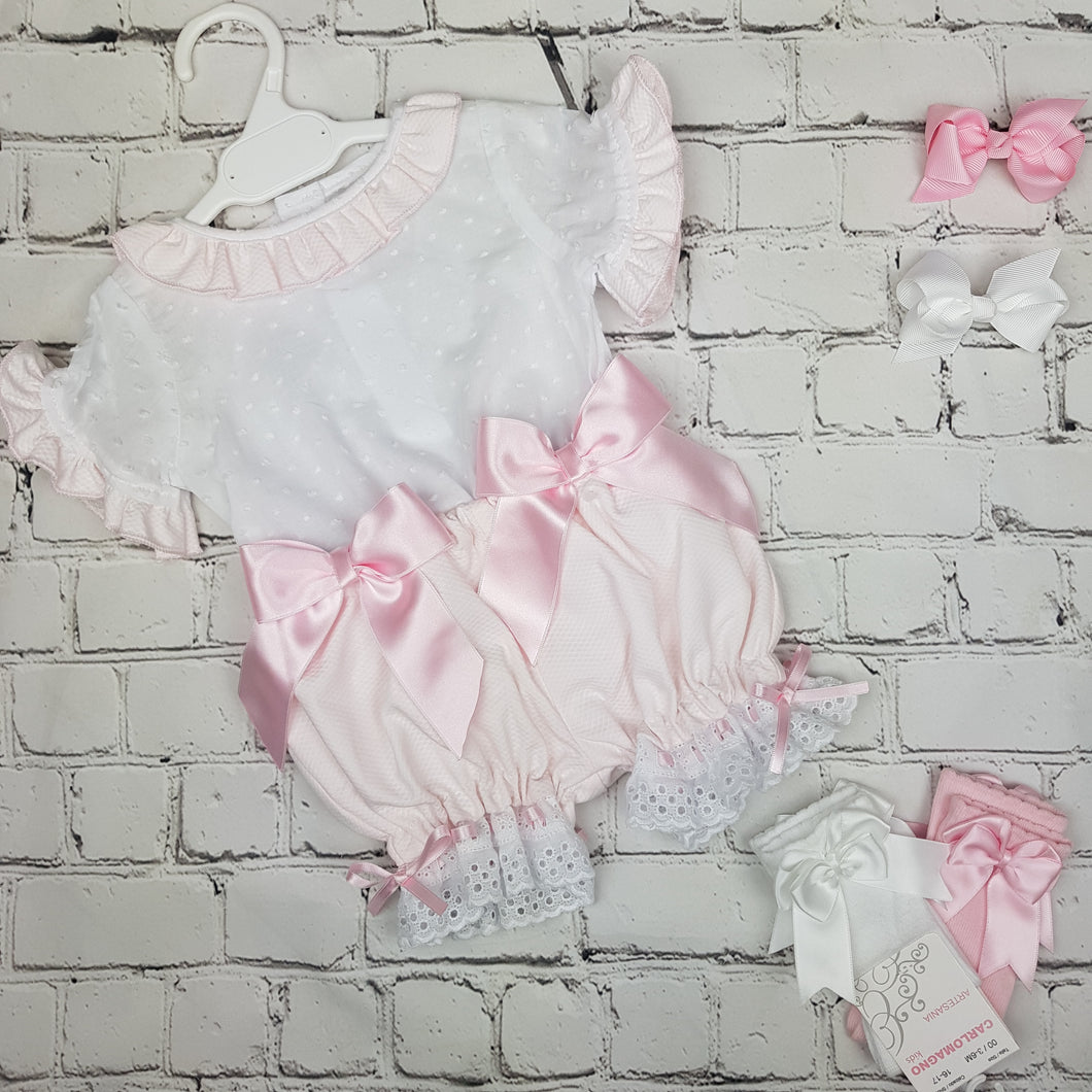 WM Pink Double Bow Bloomer Set