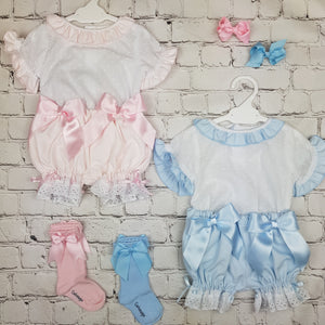 WM Blue Double Bow Bloomer Set