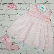 Load image into Gallery viewer, Sardon Pink Stripe Smock Dress