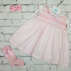 Sardon Pink Stripe Smock Dress