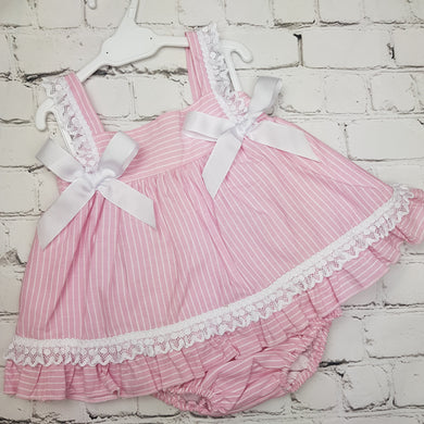 Ceyber Pink Stripe Double Bow Baby Dress