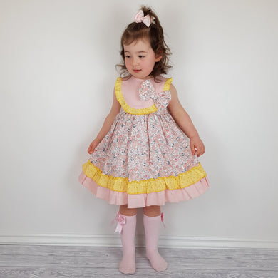 Ceyber Girls Pink And Lemon Dress