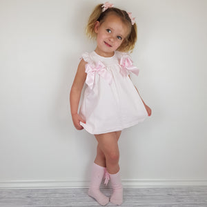 Ceyber Pink Double Bow Baby Dress
