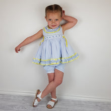 Load image into Gallery viewer, WM Blue And Lemon Smocked Bloomer Set