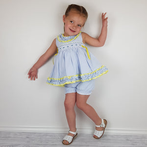 WM Blue And Lemon Smocked Bloomer Set