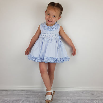 WM Blue Smocked Bloomer Set