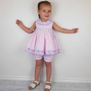 WM Pink And Blue Smocked Bloomer Set