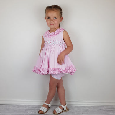 WM Pink Smocked Bloomer Set