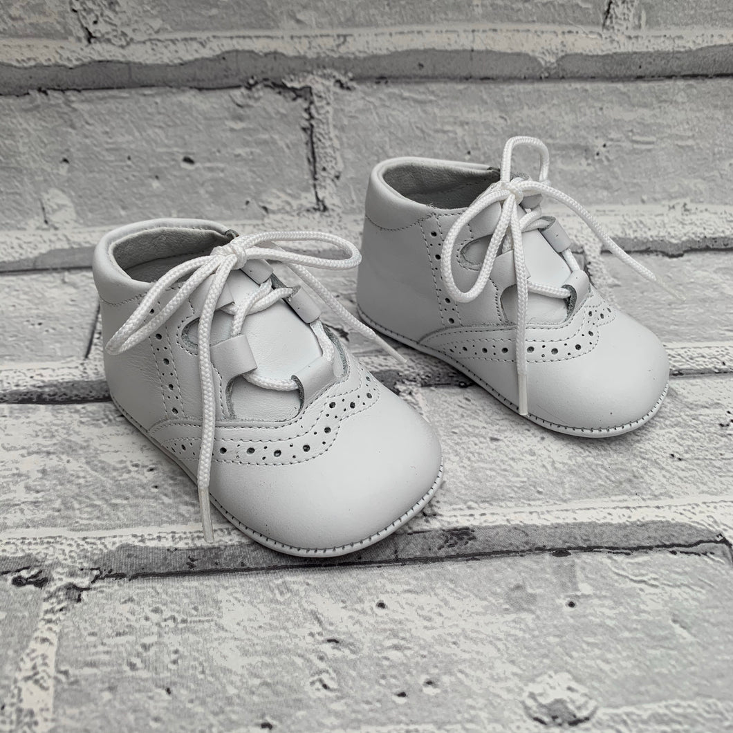 White Soft Leather Pram Shoes
