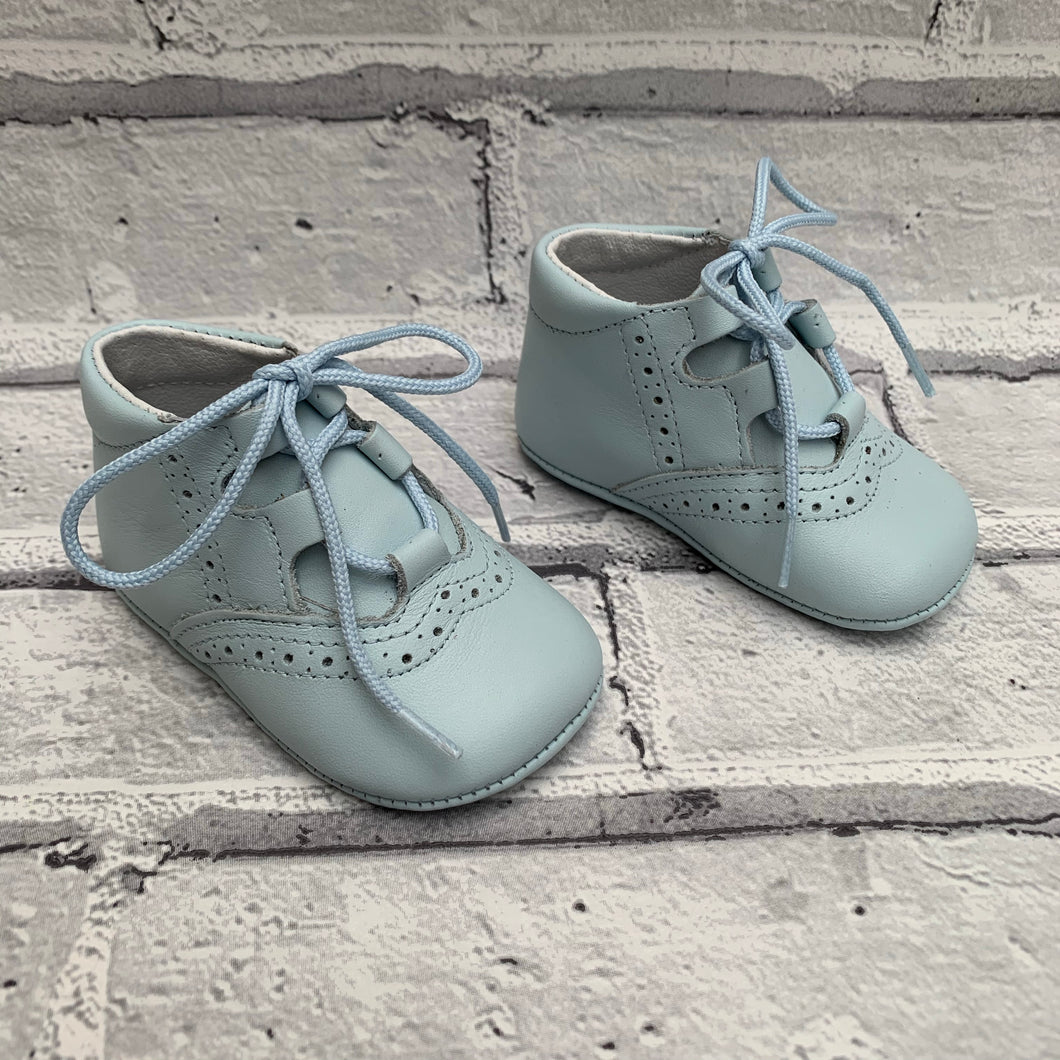 Blue Soft Leather Pram Shoes