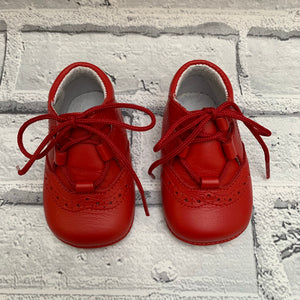 Red Soft Leather Pram Shoes