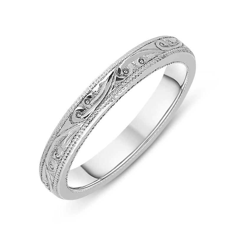 Platinum Engraved Wedding Band Ring