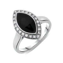 18ct White Gold Whitby Jet 0.13ct Diamond Marquise Pave Ring