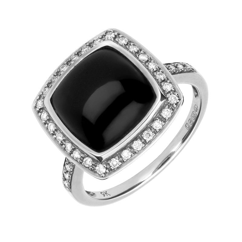 18ct White Gold Whitby Jet 0.21ct Diamond Square Cushion Ring
