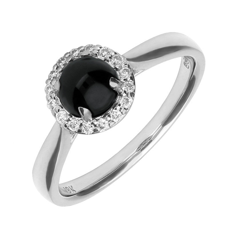 18ct White Gold And Whitby Jet Diamond Round Cluster Ring
