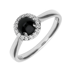 18ct White Gold Whitby Jet 0.11ct Diamond Round Cluster Ring