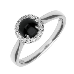 00001238 W Hamond Ring Whitby Jet 18ct White Gold 0.11ct Diamond Round Cluster R600
