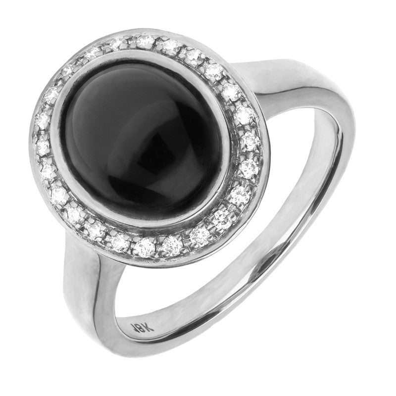 18ct White Gold Whitby Jet 0.15ct Diamond Oval Centred Ring