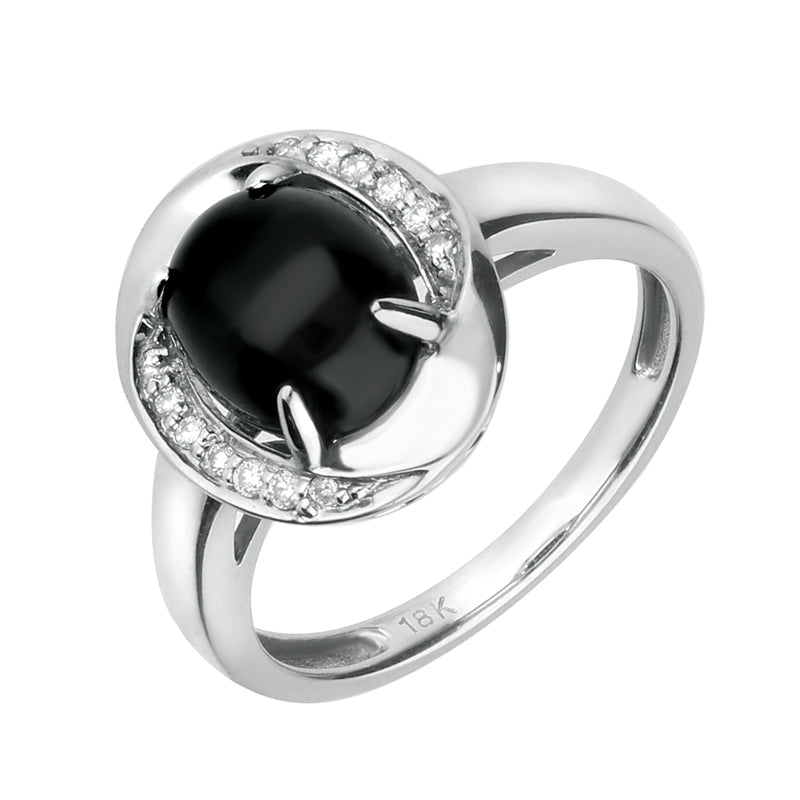 18ct White Gold Whitby Jet 0.06ct Diamond Oval Pave Ring