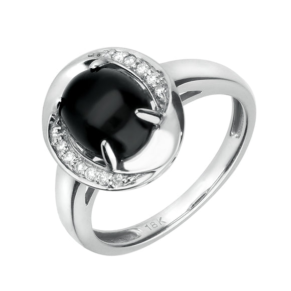 00001243 W Hamond 18ct White Gold Whitby Jet 0.06ct Diamond Oval Pave Ring. R639