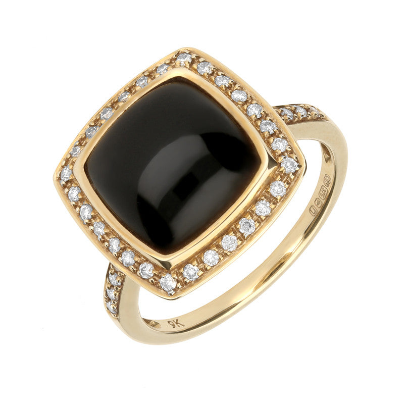 9ct Yellow Gold Whitby Jet And Diamond Single Square Cushion Ring