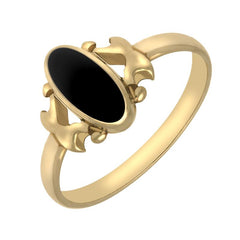 9ct Yellow Gold Whitby Jet Oval Stone Set Ring