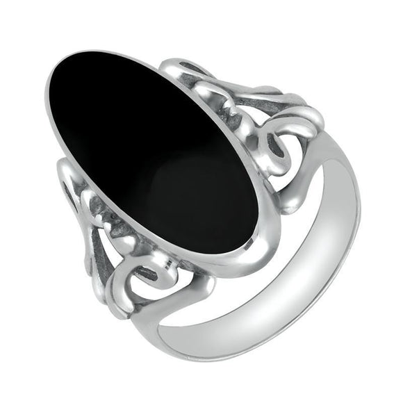 00006495 W Hamond Sterling Silver Whitby Jet  Oval Carved Edge Ring, R108.