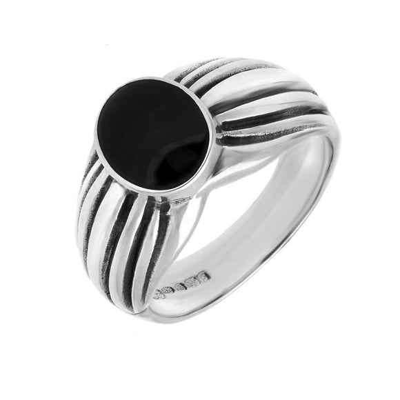 00006539 W Hamond Silver Whitby Jet Pleated Shoulders Ring, R148.