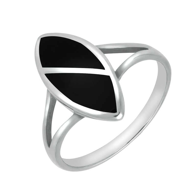 Sterling Silver Whitby Jet 2 Stone Split Marquise Ring